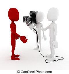 3d, man, reporter, -, interview