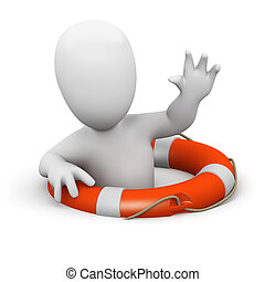 3d Man rescued by lifebelt - 3d render of a little man...