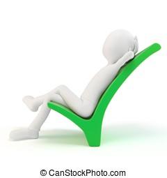 3d man resting on a positive symbol