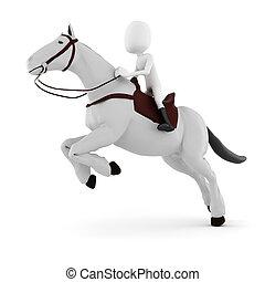 3d man riding a horse