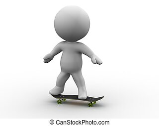 3D Man Riding a SkateBoard