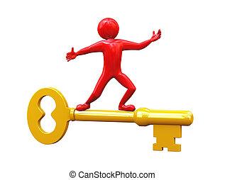 3d man riding on golden key