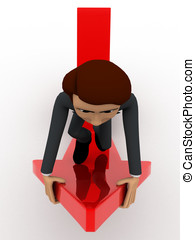 3d man riding on red arrow concept