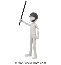 3d man riot police with baton