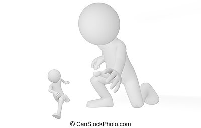 3d man run away from giant - try to get control