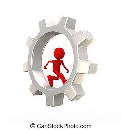 3d  man running inside gear cog wheel