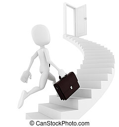 3d man running on a stair, finding the exit