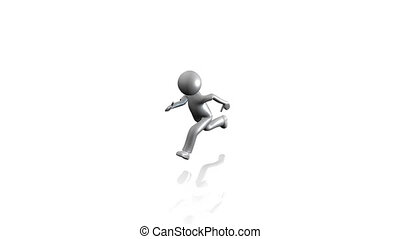 3D man running on the stairs to success