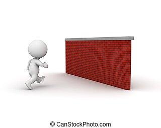 3D Man running toward brick wall - A 3d guy running toward a...