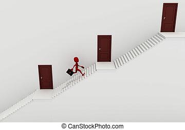 3d man running up a stair