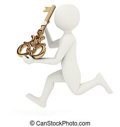 3d man running with big key