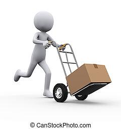 3d man running with hand truck