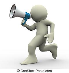 3d man running with megaphone