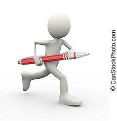 3d man running with pen