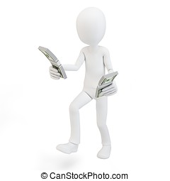 3d man running with stacks of cash