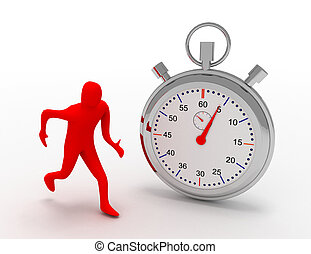 3d man running with stopwatch