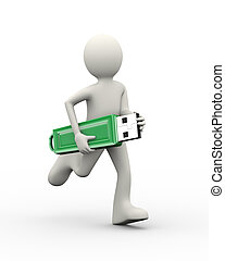 3d man running with usb flash drive