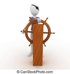 3d man sailor pirate at the wheel