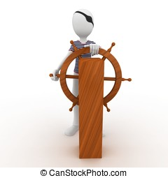 3d man sailor pirate at the wheel isolated on white