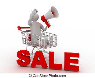 3d man sale announcement . 3d rendered illustration
