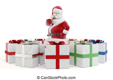 3d man sant with gift boxes