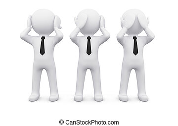 3D man say, see and hear nothing - three 3D men as symbol of...