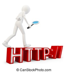 3d man searching internet concept on white background