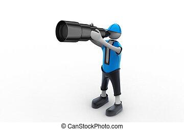 3D man searching with binoculars
