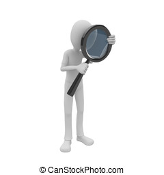 3d man searching with magnifying glass - 3d man searching...