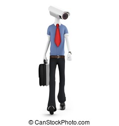 3d man security camera surveillance on white background