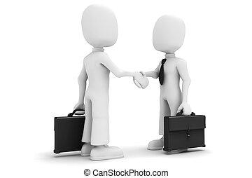 3d man, shaking hands