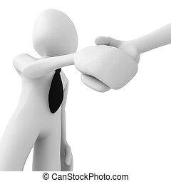 3d man shaking hands