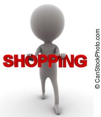 3d man shopping concept