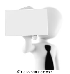 3d man showing a blank business card