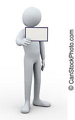 3d man showing blank card