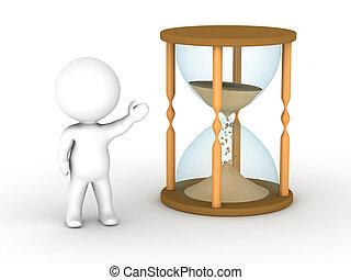 3D Man Showing Hourglass - A 3d man showing an hourglass...