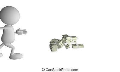 3d man showing how much money he ha