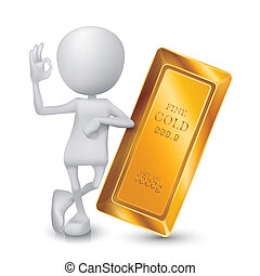 3d man showing okay hand sign with a golden bar