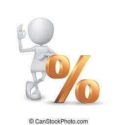 3d man showing okay hand sign with a percent symbol