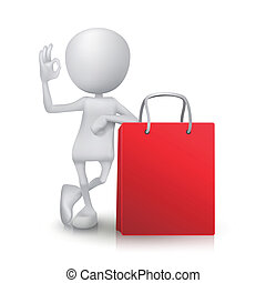 3d man showing okay hand sign with the shopping bag
