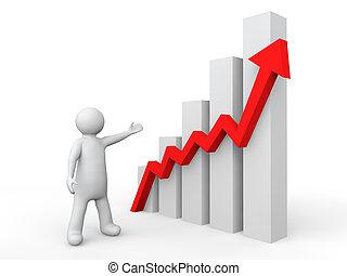 3d man showing profit graph