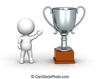 3D Man Showing Silver Trophy - A 3D man showing a large...