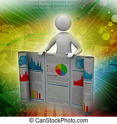 3d man showing  the business report