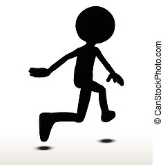 Leaping - 3d man silhouette, isolated on white background,...