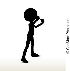 threaten - 3d man silhouette, isolated on white background,...