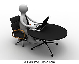3D man sitting at the table and working on a laptop computer