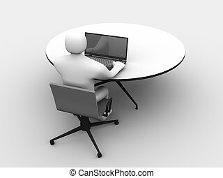 3D man sitting at the table