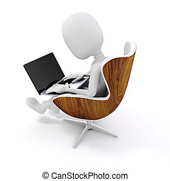 3d man sitting in a chair, working on laptop