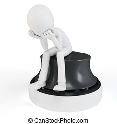3d man sitting in a thoughtful thinker pose on white...