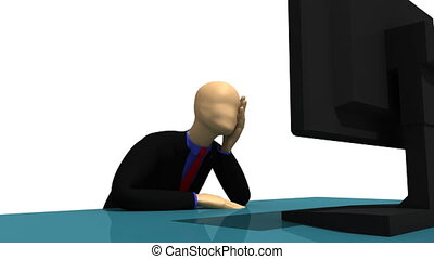 3d-man sitting in front of a screen